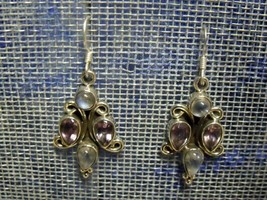 Vintage Mexico Sterling Amethyst And Blue Opal Dangle Earrings 11.21 Grams - $34.65