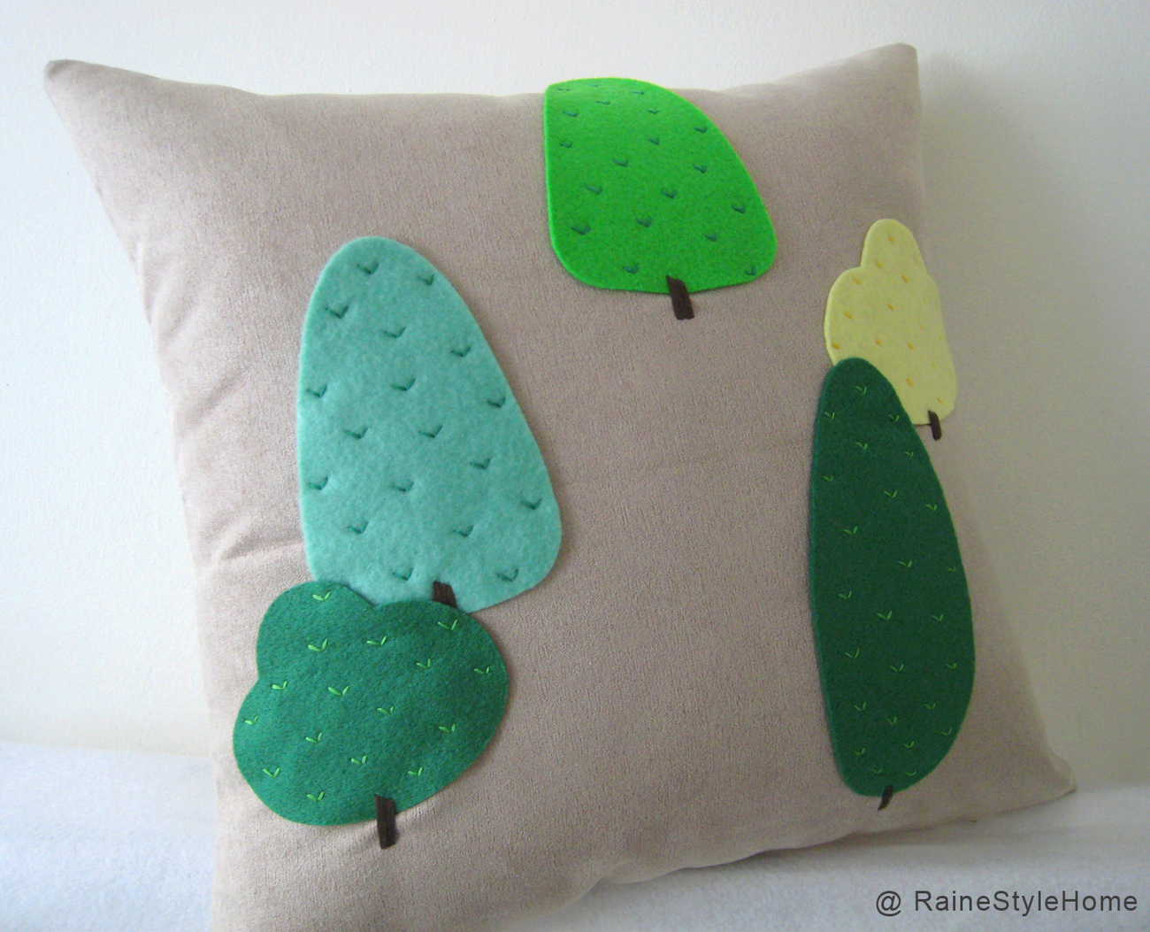 Primary image for Modern Trees Beige Pillow Cover. Green Woodland Cushion. Nature Lovers