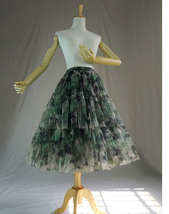 Women Knee Length Puffy Tulle Skirt Army Pattern Layered Tulle Skirt A-line Plus image 4