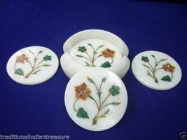 Marble Tea Coffee Coaster Set Real Hakik Inlaid Kitchen Decor Collectible Gifts - $167.78