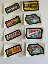 Candy 1982 Topps Wacky Packages Set Of 8 Stickers Pouds Milk Muds Clunky - $20.91