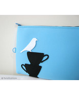White Bird Resting On Teacups Sky Blue Padded Pouch. Ipad Pouch Laptop Case - $25.50