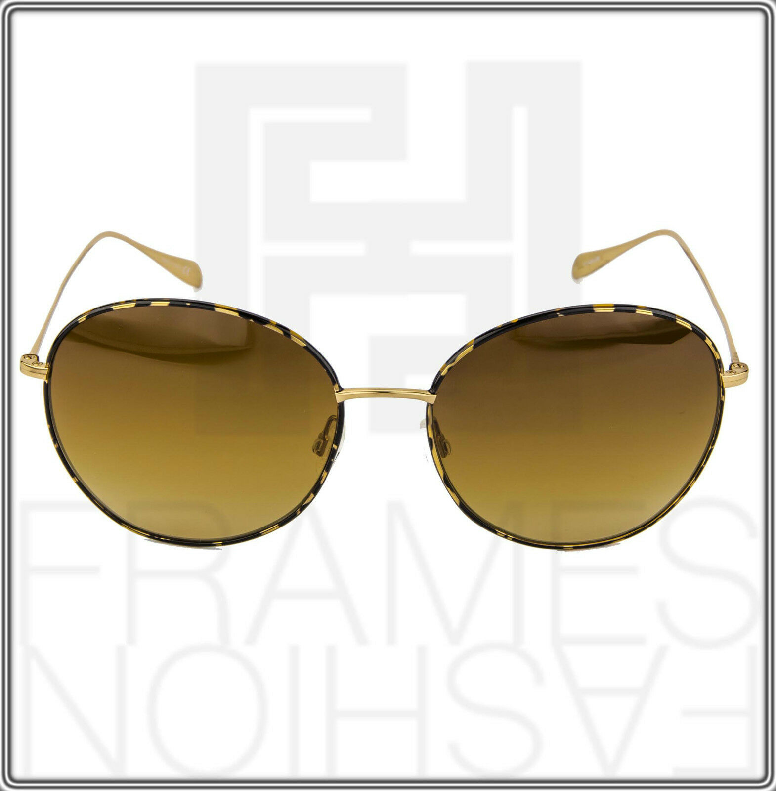 OLIVER PEOPLES BLONDELL Gold Titanium Brown Polarized Round Sunglasses OV 1102ST image 8
