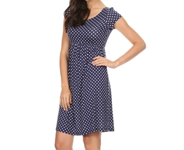 Navy White Polka Dot Dress, Midi Polka Dot Dress, Navy Polka Dot Dress