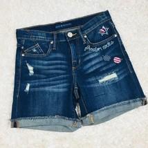 Rock & Republic Womens Size 2 Bumpershoot Jean Shorts Distressed Patriot... - $11.29