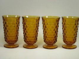 Indiana Whitehall  Gold Amber Set of 4 Glasses... - $19.79