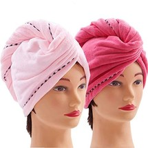 Microfiber Hair Towel Wrap for Women [2 Pack] Turban Twist Head Towel with Butto