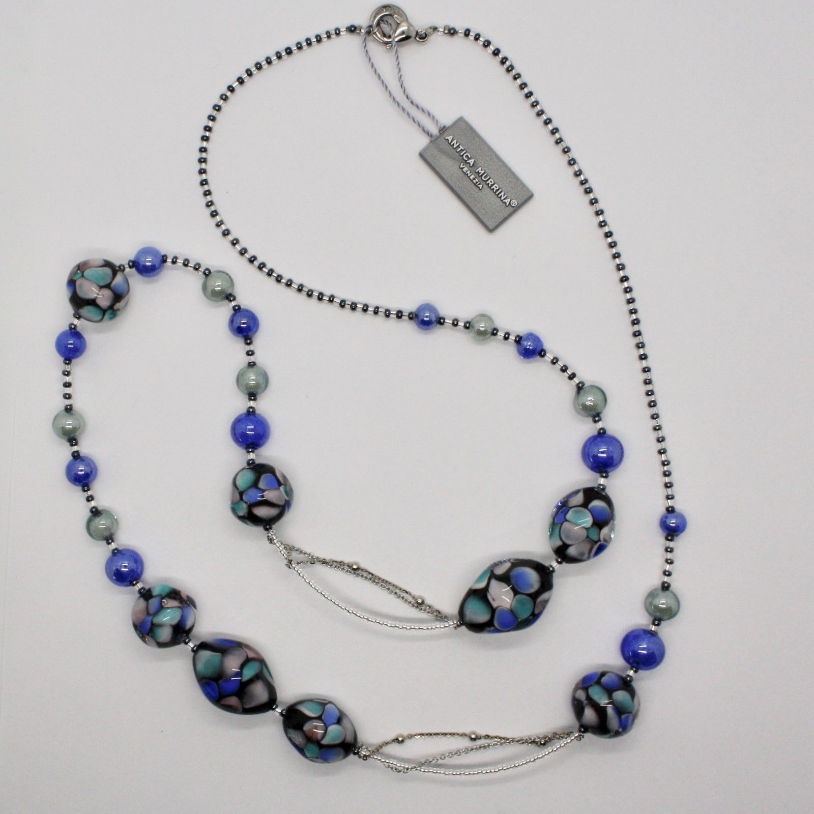 ANTICA MURRINA VENEZIA NECKLACE WITH MURANO GLASS BLACK BLUE TURQUOISE COA09A06