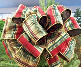 "14"" Green Gold Burgundy Plaid Wreath Mantel Christmas Tree Topper Bow 4.... - $28.84"