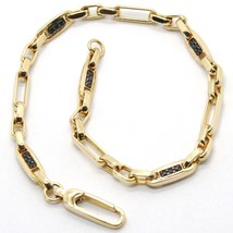 Bracelet Yellow Gold 18k 750, Tubes and Ovals Alternating, with Zircon B... - $887.33