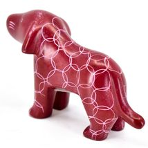 Tabaka Chigware Hand Carved Kisii Soapstone Red Standing Puppy Dog Figure image 3