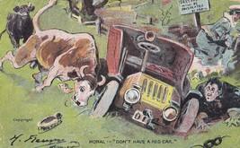Mad Bull Car Crash Lady In Strange Uniform Mask Antique Comic Postcard - $5.99