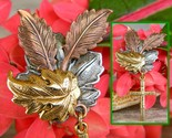 Maple oak leaves cross brooch pin tri color textured metal figural thumb155 crop