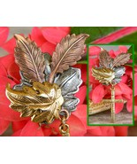 Maple Oak Leaves Cross Brooch Pin Tri Color Textured Metal Figural - $18.95