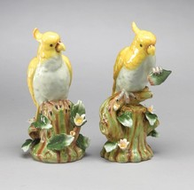 FABULOUS PORCELAIN MEISSEN  STYLE YELLOW BIRDS PAIR FIGURINES,9.5''H - $199.00