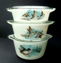 PYREX JAJ 3 Wildfowl/Ducks Lidded Junior Space Saver Casserole Dishes 19... - $40.75