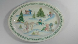 Precious Moments Christmas Platter by Enesco Oval 12 Inches 1996 - $9.89