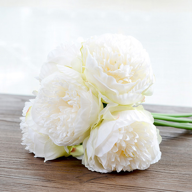 Silk flower wedding bouquet peony dahlias Artificial flowers fall vivid fake wed