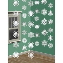 Snowflakes Doorway Foil String Decoration White Snow 7' 6 pk - $5.99