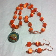 Copper Wire Wrapped Orange Fiber Optics and Floral Glass Necklace Set - $21.99