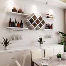 Set of 5 Wall Mount Wine Rack Set w/ Storage Shelves-White - €87,35 EUR