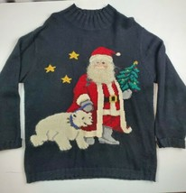 VNTG TALBOTS, Ladies size M,  CHRISTMAS Santa polarbear CREWNECK SWEATER 3D - $23.75