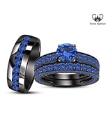 Trio Set Blue Sapphire 10K Black Gold Fn. His & Her Engagement Ring Wedding Band - £148.00 GBP