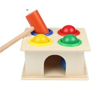 Newborn Colorful Hammering Wooden Ball Hammer Box Geometric Blocks Toys - $9.99