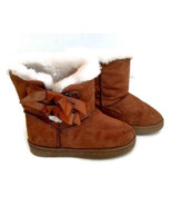 Rampage Girls Toddler 9M Lil Beatrix Tan Winter Boots with Bows Slip on - $14.84