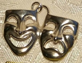 STERLING SILVER HAPPY SAD MASK PENDANT .925 30x25mm
