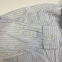 Tasso Elba Button Up Shirt Men's Size 2XL 18 Long Sleeve White Blue Striped - $18.95