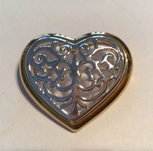 Danecraft Two Toned Gold Silver Tone Filigree Heart Brooch Pin - $9.85