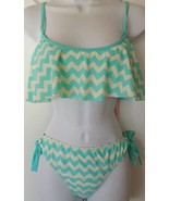 Juicy Couture Swim 2 Pcs Bikini Top Bottom Zig Zag Ruffled Aqua Blue Swi... - $29.99