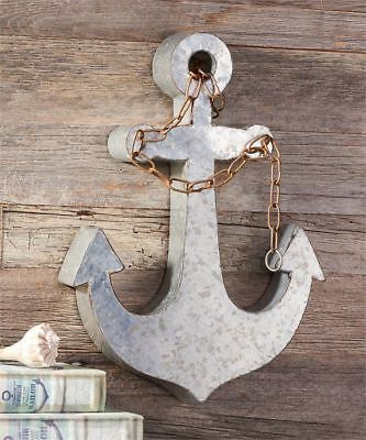 "17.8""   Metal Anchor Design Wall Decor with Chain Link Embellishment"