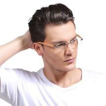 Reading Glasses Male +1.0 +1.5 +2.0 +2.5 Wood Bamboo Rimless Frame Magni... - $16.65+