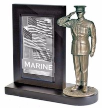 USMC Dress Blues Bronze Cast Resin Statue With Cherry Base Photo Frame  - $49.49