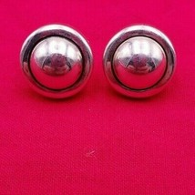 Vintage Modernistic Sterling Silver Round Post Earrings  (#438) - $15.00
