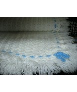 White With Blue Trim Hand Knitted Crochet Baby Blanket  - $27.40