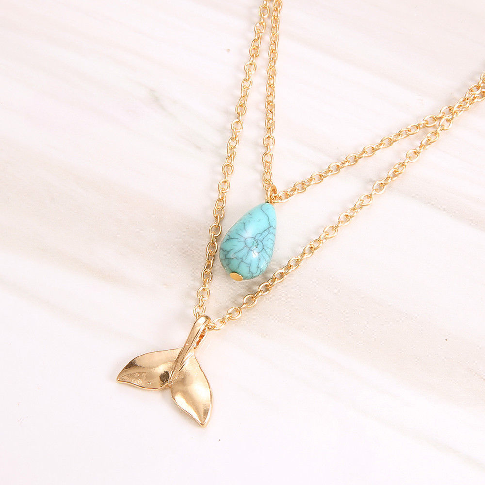 Jewdy® Mystical Mermaid Pendant Necklace Gold Whale Tail Water Droplets Stone