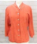 Bobby Chan 100% Silk Blouse Long Sleeve Shirt Lightweight Orange Women's L - $24.74