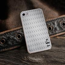 Personalized White Trimmed iPhone Cover - Diamond Plate Steel - $31.86 CAD