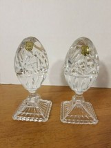 VINTAGE HEAVY LEAD CRYSTAL FOOTED EGGS MADE IN POLAND - $49.95