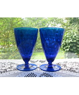 Fenton Diamond Optic Cobalt Blue Footed Tumblers - Pr. - $24.00