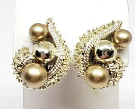 Coro Vintage Gold Tone Color Balls Clip On Earrings - $16.20