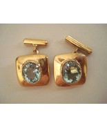 EXTRAVAGANT AMAZING LOVELY FINE AQUAMARINE CUFFLINKS sld - $120.00