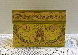 Vintage Retro Folk Art Design Tin Recipe Card Box // Index Card File Box - $7.99