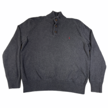 Polo Ralph Lauren Sweater Jumper Mens L Dark Gray Charcoal Button Neck C... - $14.01