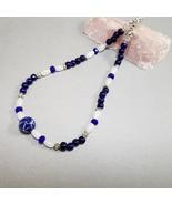 Blue & white necklace, Quartz, Ceramic, Crystal, Elephant gift, beaded n... - $28.00