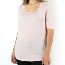 Plus Size Tops, Scoop Neck Tees, Light Peach Relaxed Shirt, Plus Size Clothing