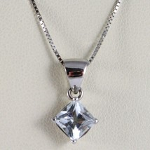 18K White Gold Necklace, Princess Cut Aquamarine 1.00 Ct Pendant, Venetian Chain - $342.00